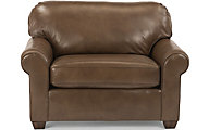 Flexsteel Thornton Mocha 100% Leather Chair & 1/2