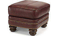 Flexsteel Bay Bridge Brown 100% Leather Ottoman