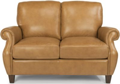 Flexsteel Exton Caramel 100% Leather Loveseat