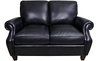 Flexsteel Exton 100% Leather Black Loveseat