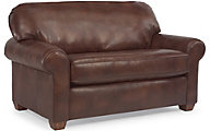 Flexsteel Thornton Brown 100% Leather Twin Sleeper Sofa