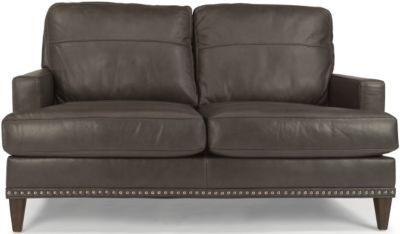 Flexsteel Ocean Gray 100% Leather Loveseat