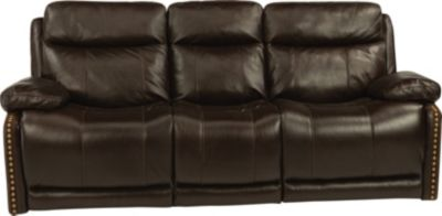 Flexsteel Russell Leather Power Sofa with Power Headrest