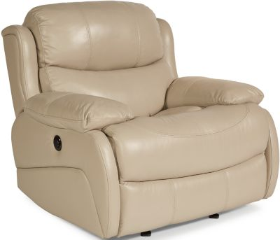 Flexsteel Amsterdam Cream Leather Power Glider Recliner