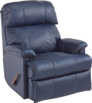 Flexsteel Geneva Blue 100% Leather Rocker Recliner