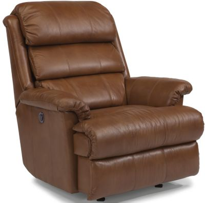 Flexsteel Yukon Mocha Leather Power Rocker Recliner