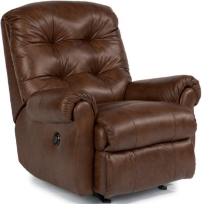 Flexsteel Torrence Brown Leather Power Rocker Recliner