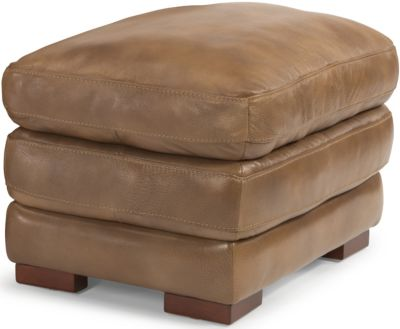 Dylan 100% Leather Light Brown Ottoman