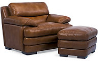 Dylan 100% Leather Mocha Chair