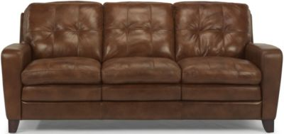 Flexsteel South Street 100% Leather Brown Sofa