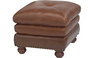Suffolk 100% Leather Bronze Ottoman