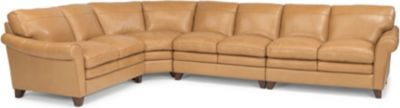 Flexsteel Sofia 100% Leather Cream 4-Piece Sectional