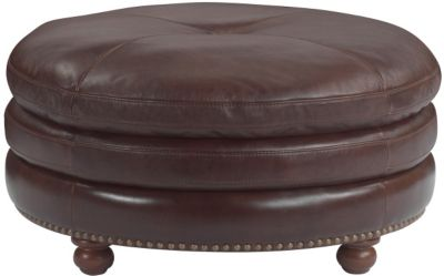 Flexsteel Suffolk 100% Leather Bronze Cocktail Ottoman