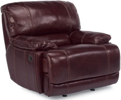 Flexsteel Belmont Burgundy Leather Power Recliner