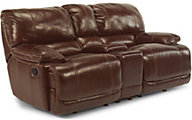 Flexsteel Belmont Brown Leather Reclining Console Loveseat