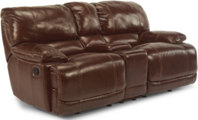 Flexsteel Belmont Brown Leather Power Reclining Loveseat