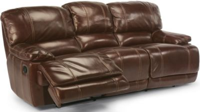 Flexsteel Belmont Brown Leather Power Reclining Sofa