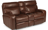 Flexsteel Bixby Leather Power Reclining Console Loveseat