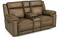 Flexsteel Brody Leather Power Reclining Console Loveseat