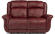 Flexsteel Brookings 100% Leather Power Reclining Loveseat