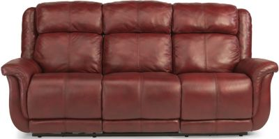 Flexsteel Brookings 100% Leather Power Reclining Sofa