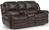 Flexsteel Capitol Leather Power Reclining Console Loveseat