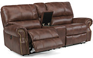 Flexsteel Carlton Power Reclining Console Loveseat