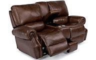 Flexsteel Colton Leather Power Reclining Console Loveseat