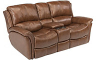 Flexsteel Dominique Leather Power Reclining Console Loveseat