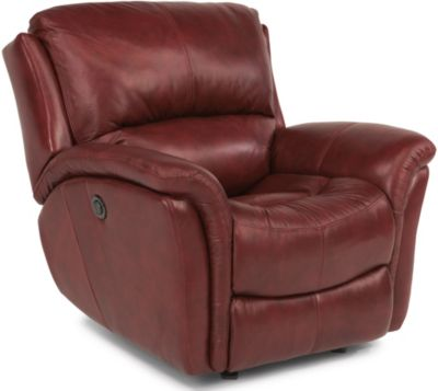Flexsteel Dominique Red Leather Power Glider Recliner