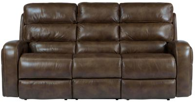 Flexsteel Elliot Brown Leather Power Reclining Sofa
