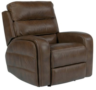 Flexsteel Elliot Brown Leather Power Glider Recliner