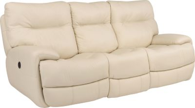 Flexsteel Evian Cream Leather Power Reclining Sofa