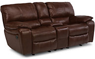 Flexsteel Grandview Leather Power Reclining Console Loveseat