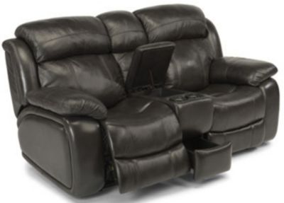 Flexsteel Como Leather Power Reclining Loveseat with Console