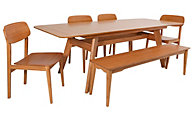 Greenington Currant Table, 4 Chairs & 1 Bench