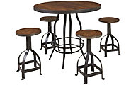 Hammary Furniture Hidden Treasures Counter Table & 4 Stools