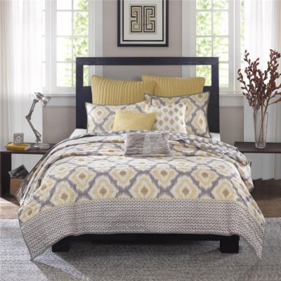 Hampton Hill Ankara Yellow 3-Piece King Coverlet Set