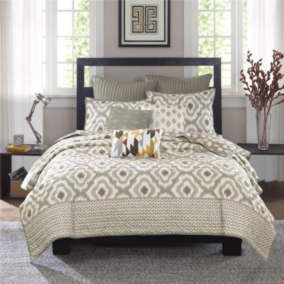 Hampton Hill Ankara Natural 3-Piece Full/Queen Coverlet Set
