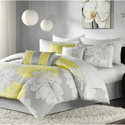 Hampton Hill Lola Yellow 7 Piece Full Queen Comforter Set Homemakers Furniture