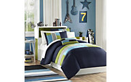 Hampton Hill Pipeline Navy 4-Piece Full/Queen Comforter Set