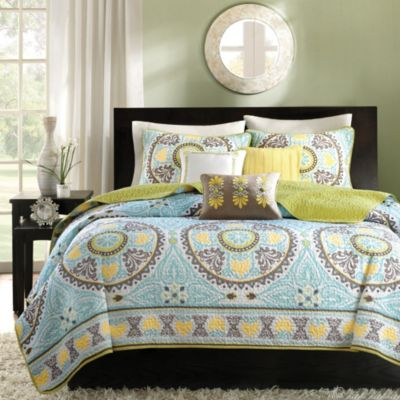 Hampton Hill Samara Blue 6-Piece Full/Queen Quilt Set