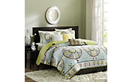 Hampton Hill Samara Blue 6-Piece King Quilt Set