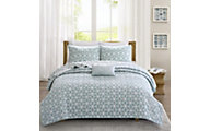 Hampton Hill Alexa Aqua 4-Piece King Coverlet Set