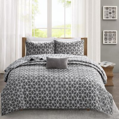 Hampton Hill Alexa Gray 4-Piece Queen Coverlet Set