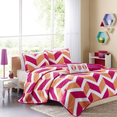 Hampton Hill Billie Pink 3-piece Twin Coverlet Set