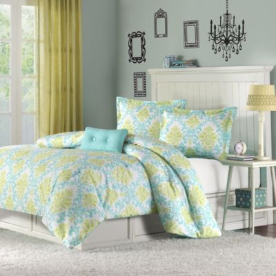 Hampton Hill Katelyn Teal 4-Piece Full/Queen Comforter Set