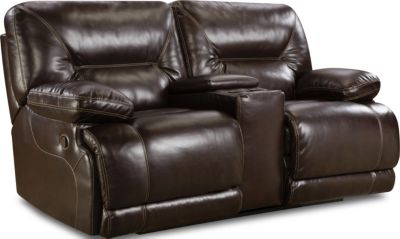 Homestretch Marshall Brown Reclining Loveseat with Console