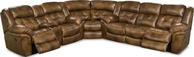Homestretch Cheyenne 3-Piece Leather Reclining Sectional