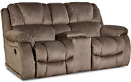 Homestretch Brahma Tan Reclining Loveseat with Console
